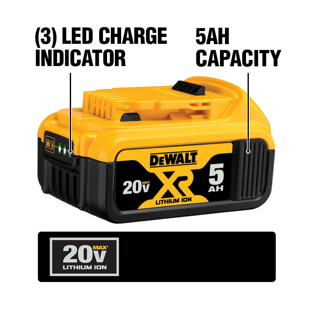 The DCB205 Premium XR Lithium Ion battery gets long-lasting power and prolonged life and weighs just 1.42 lbs. It features a built-in charge meter.