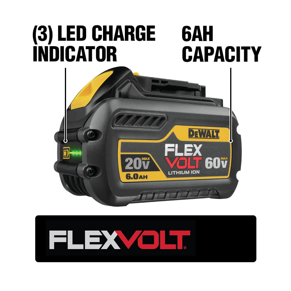 The DEWALT DCB606 FLEXVOLT Battery Pack changes voltage when you change tools. This pack is also backwards compatible with 20V MAX tools and chargers.