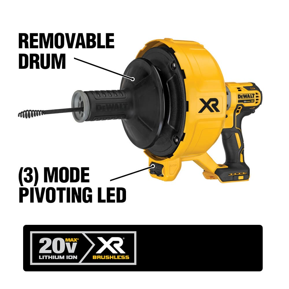 The DCD200 is equipped with a 5/16 in. x 25 ft. Black Oxide Drain Cable with Bulb Head and features a removable inner drum.