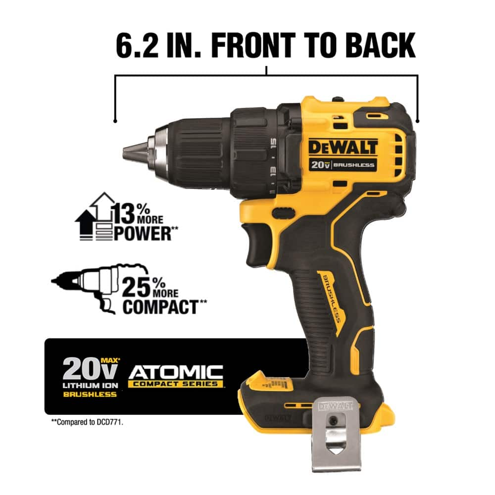This brushless drill delivers 340 Unit Watts Out and LED light. The handle features an ergonomic design for balance and easier tool control