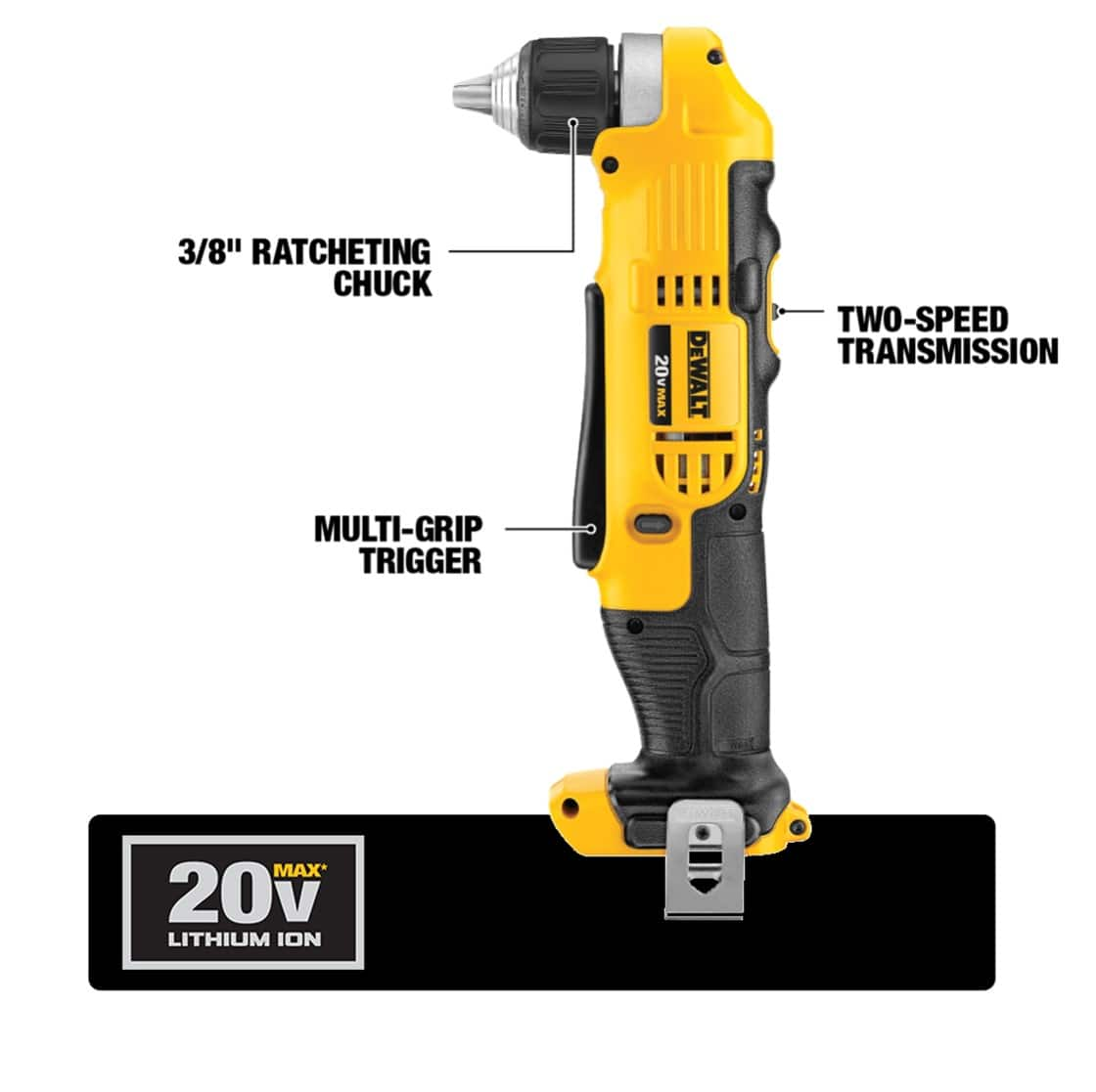 The DCD740 3/8 in. Cordless Right Angle Drill has a deep hex chuck and has speeds of 0 to 650 and 0 to 2000 RPM.