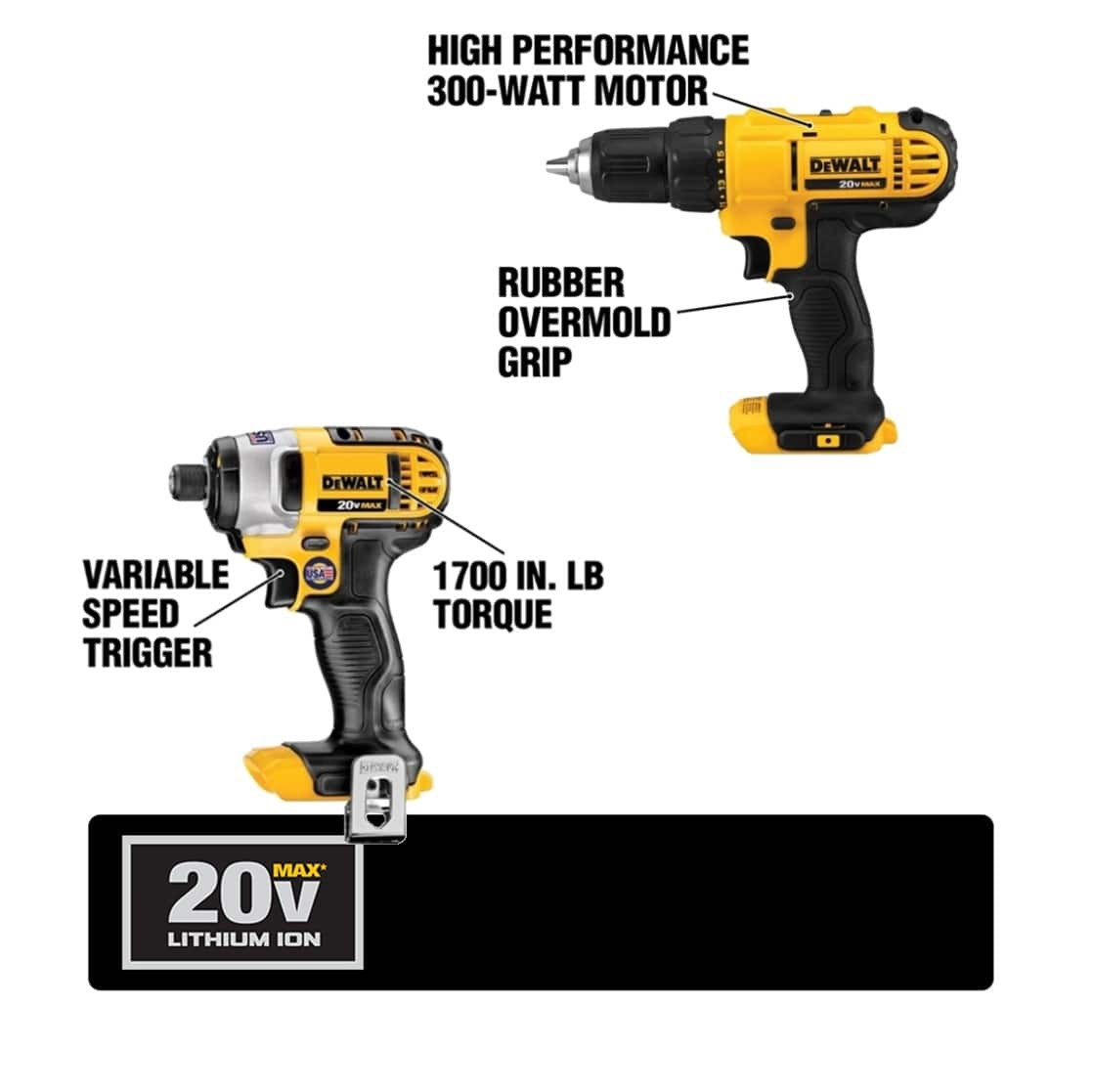 DCD771 Drill Driver has a compact, Lightweight design. DCF885 Impact Driver provides up to 1400 in. lbs. of max torque and delivers up to 2800 RPM.