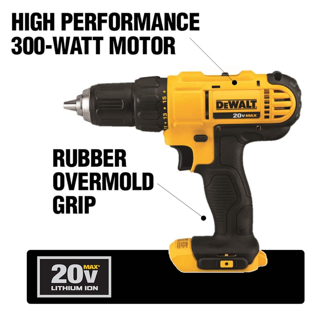 This DCD771 Drill features a compact, lightweight design and a 2-speed transmission with single sleeve ratcheting chuck.