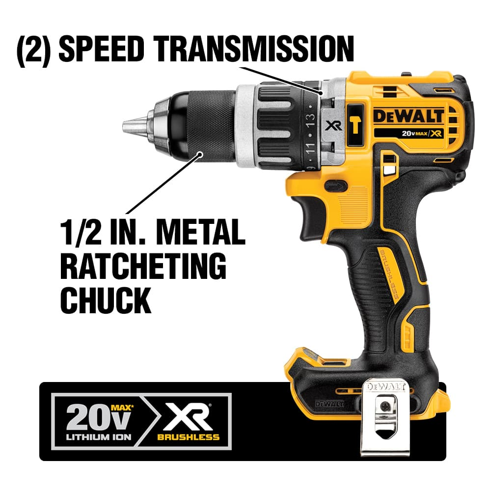 The DCD796 is ideal for drilling and hammering in various materials. Its brushless motor delivers up to 57% more run time over brushed.