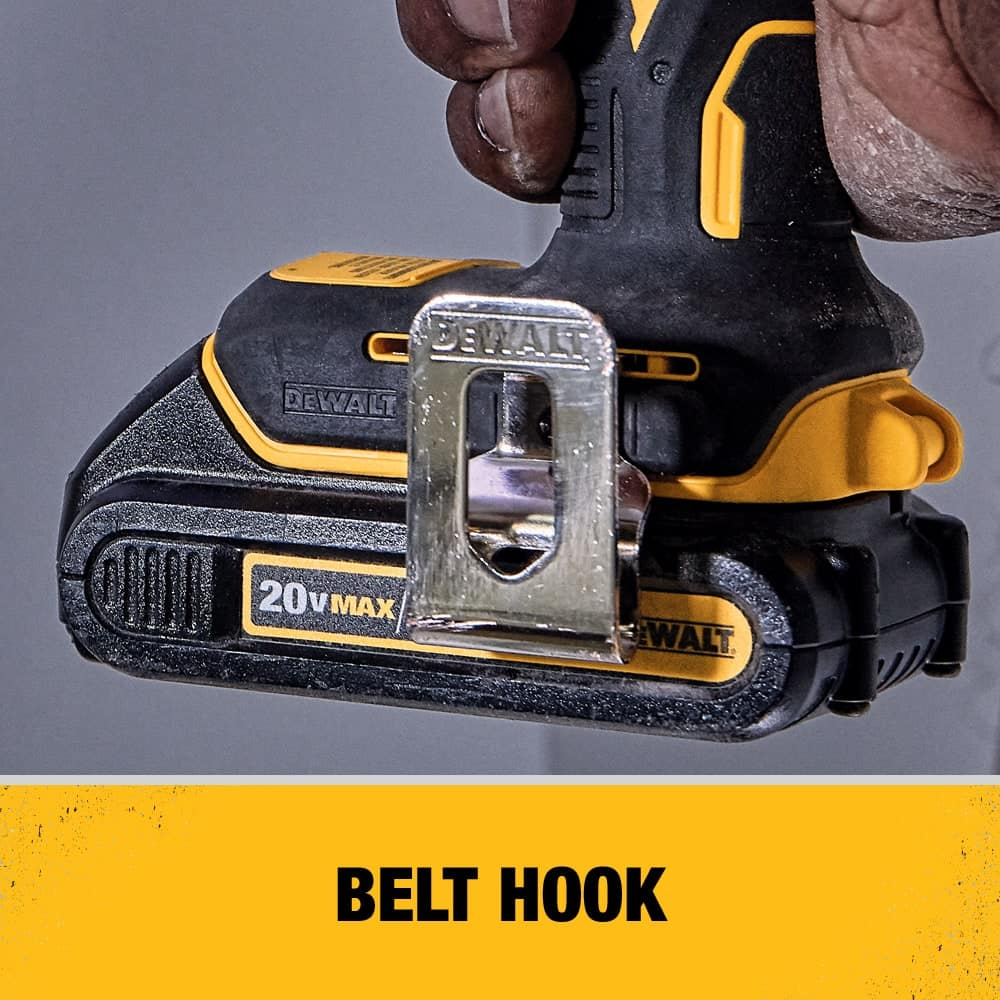 Belt Hook Included for hands free access on the job site. Tool also features a variable Speed Trigger.