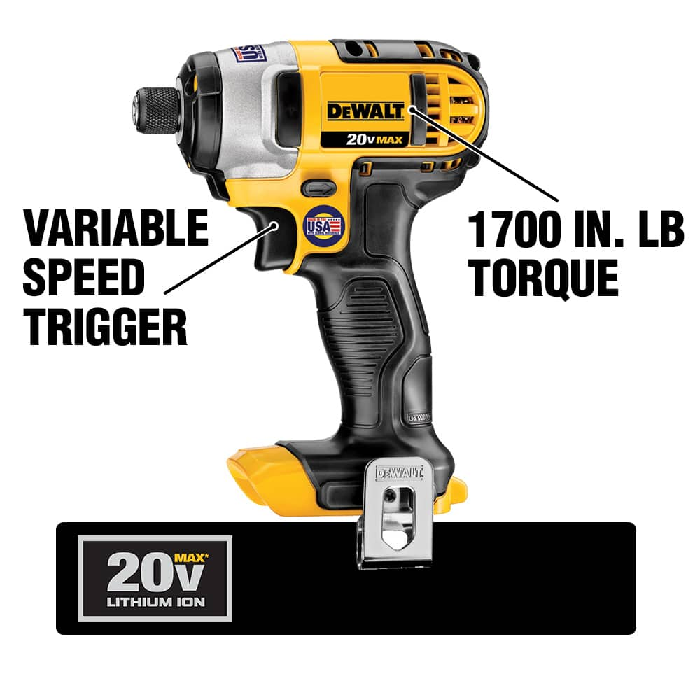 The DCF885 Cordless Impact Driver has a compact design with three LED Lights. Its motor produces up to 3200 IPM and has a max torque of 117 ft. lbs.