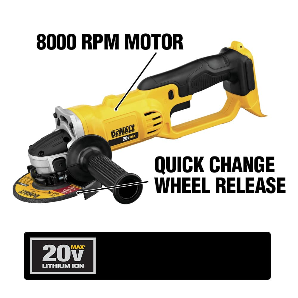 DCG412 4-1/2 in. Cut Off Tool delivers 8000 RPM and a quick-change wheel release. It offers a tool-free adjustable guard and 2-position side handle.