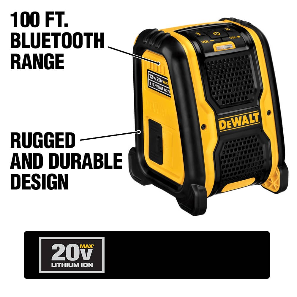 The DCR006 Jobsite Bluetooth Speaker is Lightweight, portable and includes AUX and USB ports.  It runs off of 20V MAX batteries and AC power.