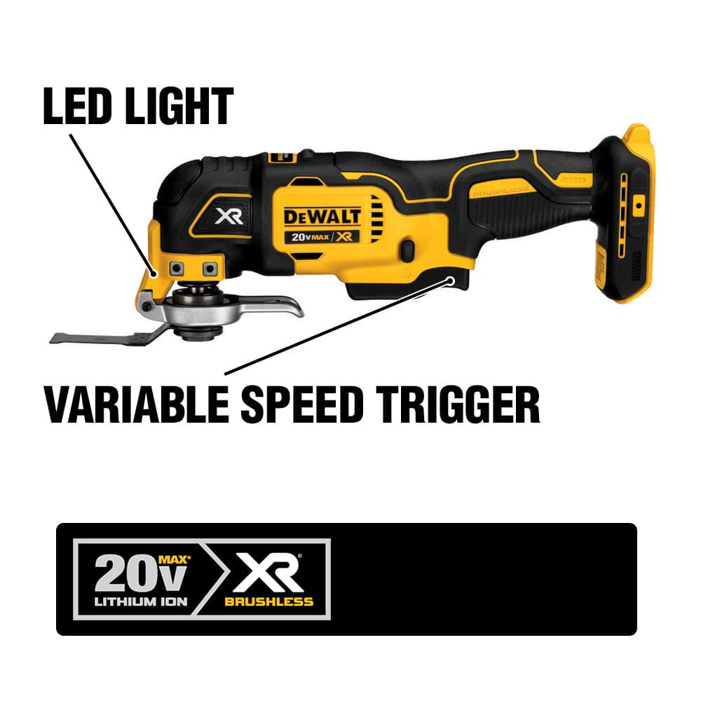 The Brushless DCS355B Cordless Oscillating Multi-Tool features the DEWALT QUICK-CHANGE Accessory System.
