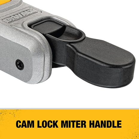 Cam lock miter handle delivers quick and accurate miter angles.