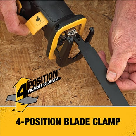 Keyless 4-position blade clamp for quick and easy blade changes and cutting versatility.