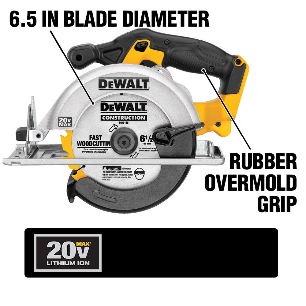 The DCS393 Cordless Circular Saw has a 460 MWO 3700 RPM motor. It has a high strength and Lightweight magnesium shoe and a 50 degree bevel capacity.