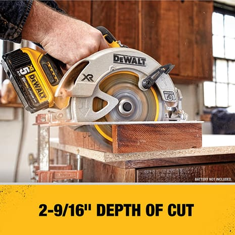 Tool uses a 7 1/4 in. Circular Saw Blade and features a maximum cut depth of 2 9/16 in. at a 90 degree bevel.