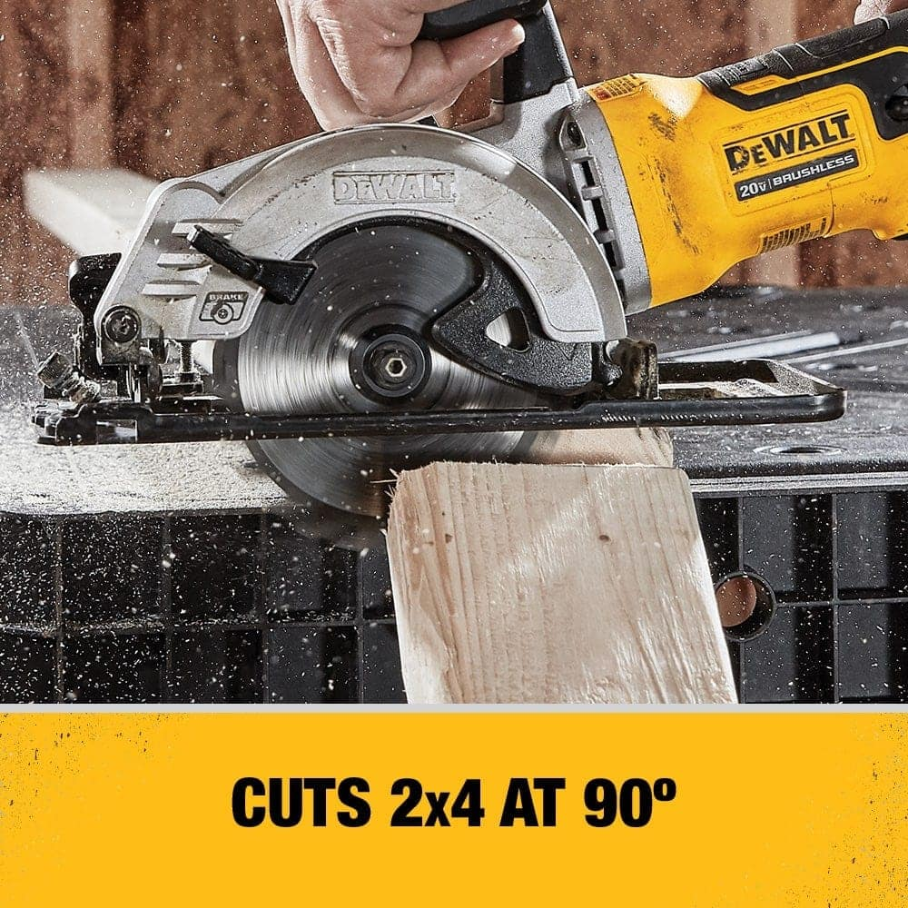Tool uses a 4-1/2 in. circular saw blade and features a maximum cut depth of 1-9/16 in. at a 90 degree bevel.