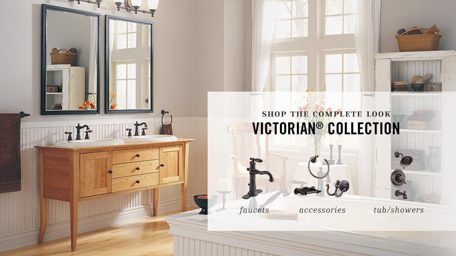 Image depicts a room shot showcasing coordinating bathroom products like faucets, showers, and accessories