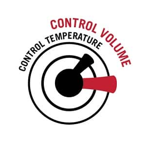 "Image shows black and red line drawing with words ""control temperature"" referring to one handle and ""control volume"" referring to the other handle"