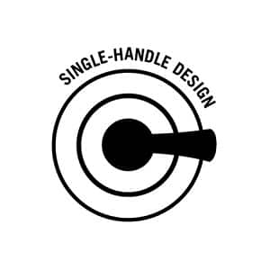 "Image depicts a black line drawing of a shower valve and handle on a white background with words ""Single-Handle Design"""