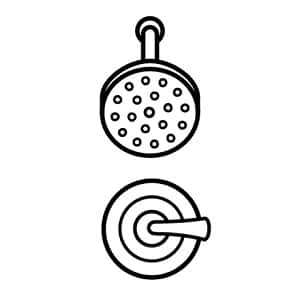 Image depicts a black line drawing of a shower head and valve/handle on a white background
