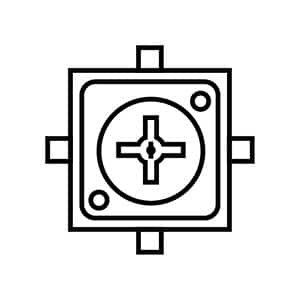 Image depicts a black line drawing of the Delta MultiChoice Unversal Valve on a white background