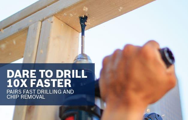 Bosch Daredevil spade bit drilling overhead into wood.