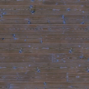 Swatch image of a dark brown charred wood shiplap board with pops of blue color giving it a deep sea look