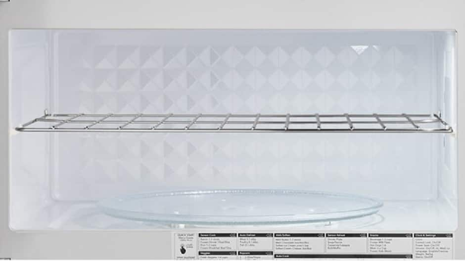 Interior view of microwave