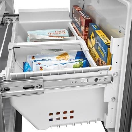 Side view of freezer drawer