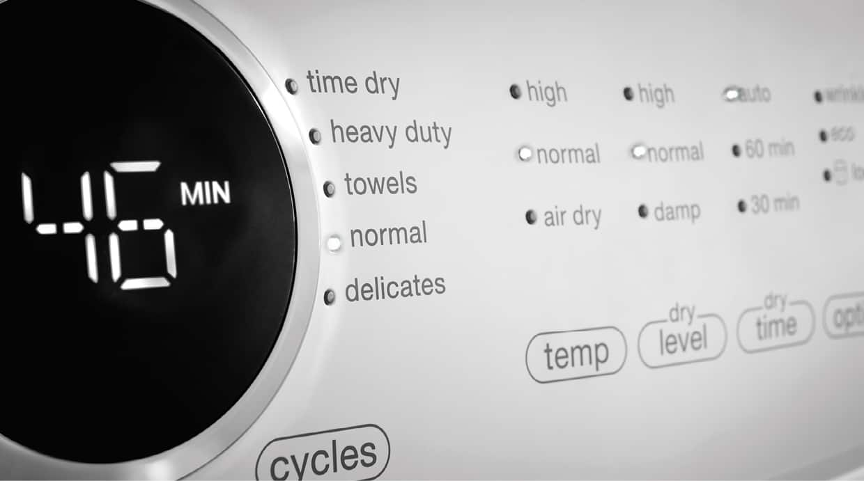 Control panel with five wash cycles
