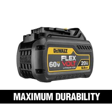 Durable construction with a single piece cell holder and up to 6X runtime when used with 20V tools.