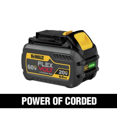 Switches voltage to work with 20 VOLT MAX and 60 VOLT MAX.