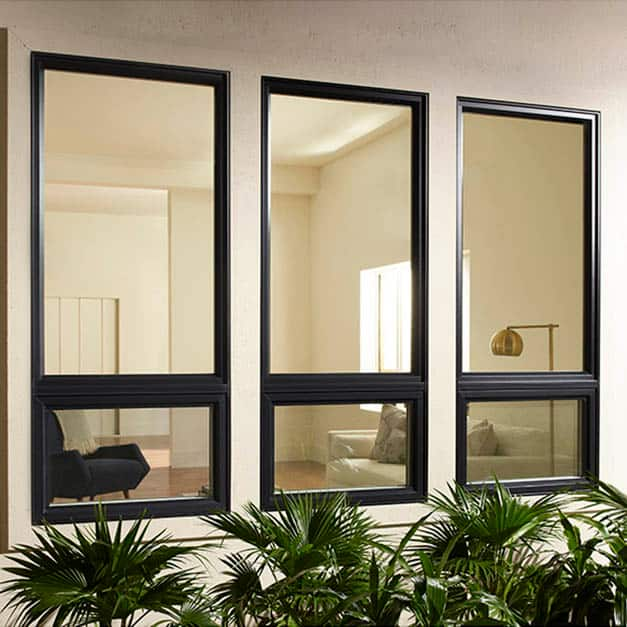 Three black matching vinyl windows