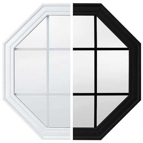 Half white interior view and half black exterior view geometric window showing color on each side of window