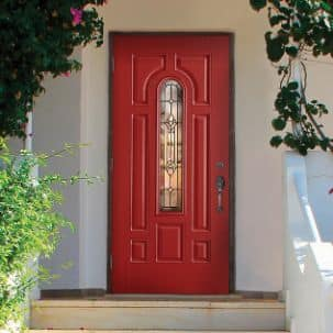Masonite Providence Center Arch Exterior Fiberglass Door in Red