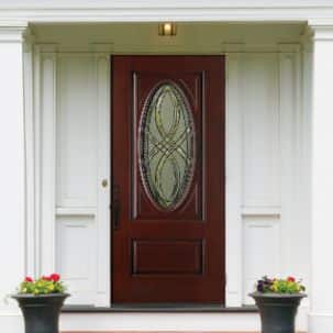 Masonite Everland Cianne 3/4 Oval Exterior Fiberglass Door in Cherry