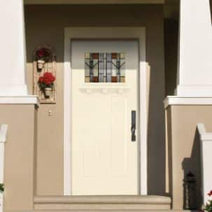Masonite Providence Center Arch Exterior Steel Door in Red