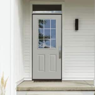 Masonite 9-Lite Internal Grille Exterior Steel Door in Silver Cloud