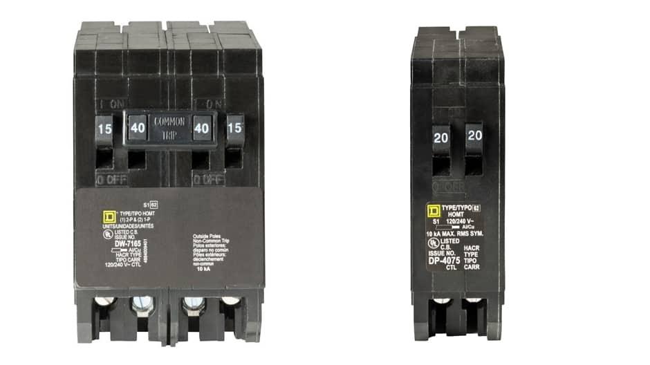Square D Homeline tandem breakers use standard thermal-magnetic breaker technology