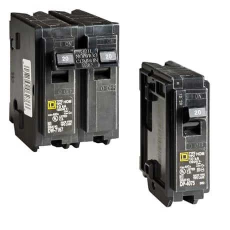 Choose between single-pole or 2-pole Homeline standard breakers