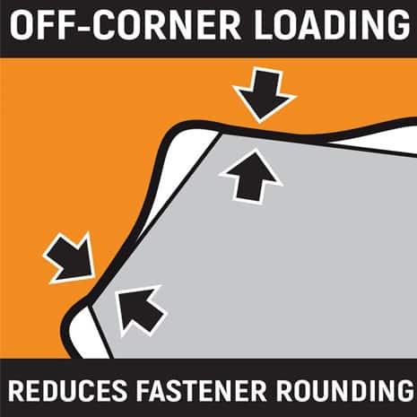 Off-corner Loading Reduces Fastener Rounding