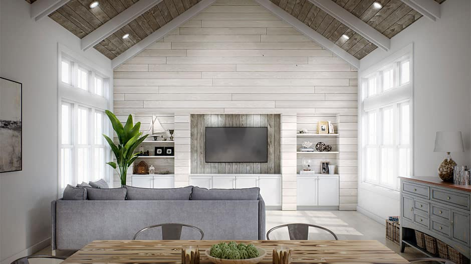 White barnwood shiplap used as an accent wall for the living room and grey barnwood shiplap used for the ceiling