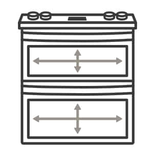 An icon of the range. Arrows measure the capacity of the oven's cavities.