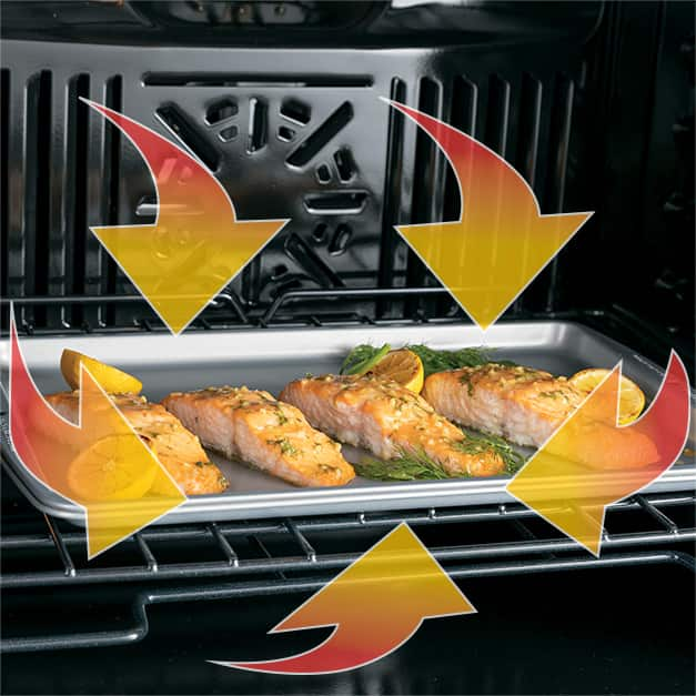 Image of salmon cooking in oven with arrow graphics indicating hot air movement