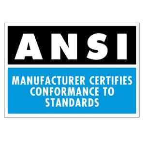 ANSI Certified for Safety.