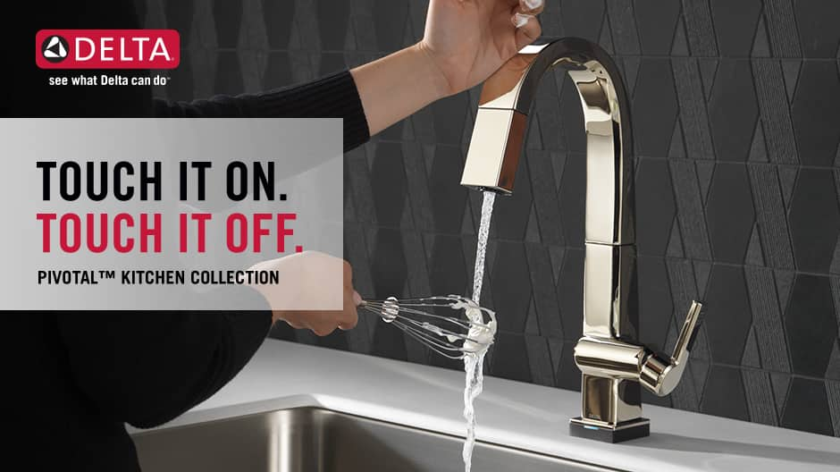 """Image depicts a faucet with water on and a hand model touching the spout with text """"Touch it on. Touch it off."""""""