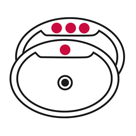 Image is a line drawing of two sinks - one with a single hole highlighted in red and the other with three holes highlighted in red