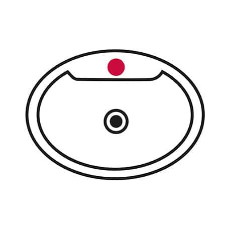 Image is a line drawing of a sink with a single hole highlighted in red to indicate that the faucet requires 1-hole installation