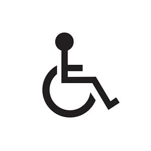 Image depicts a black line drawing of the ADA logo with a person sitting in a wheelchair on a white background