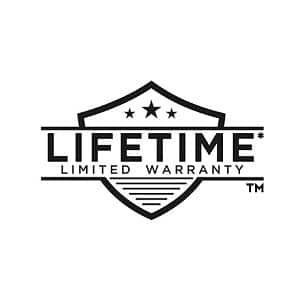 "Image depicts and black line drawing of a ""Lifetime Limited Warranty"" icon on a white background"