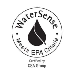 "Image depicts a black line drawing of the WaterSense logo that says ""WaterSense, Meets EPA Criteria, Certified by CSA Group"""