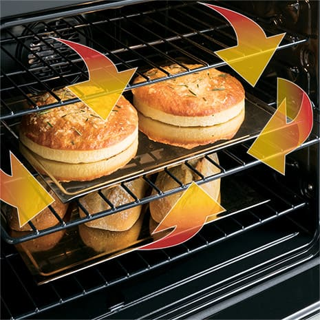 Tight shot of bread cooking on oven rack with arrow graphics surrounding food to show heat circulation